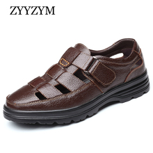 цены ZYYZYM New 2019 Summer Shoes Men Sandals Genuine Leather High Quality Men's Casual Shoes Male Brand Sandals Non-slip Plus Size