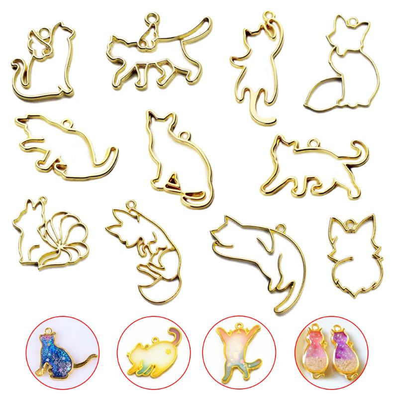 11pcs Fox Cat Metal Frame Pendant Bezel Setting UV Resin Charm Jewelry Casting Craft DIY Mold Metal Frame Jewelry Charms Bezel
