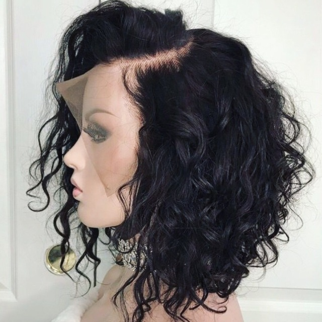 Brazilian Remy Wavy Short Bob Curly Lace Front Human Hair Wigs PrePlucked With Full Frontal BabyHair