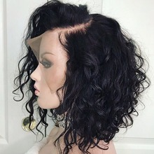 Curly Lace Front Human Hair Wigs For Black Women Pre Plucked With Full Frontal Baby Hair Remy Brazilian Hair Wavy Short Bob Wig(China)
