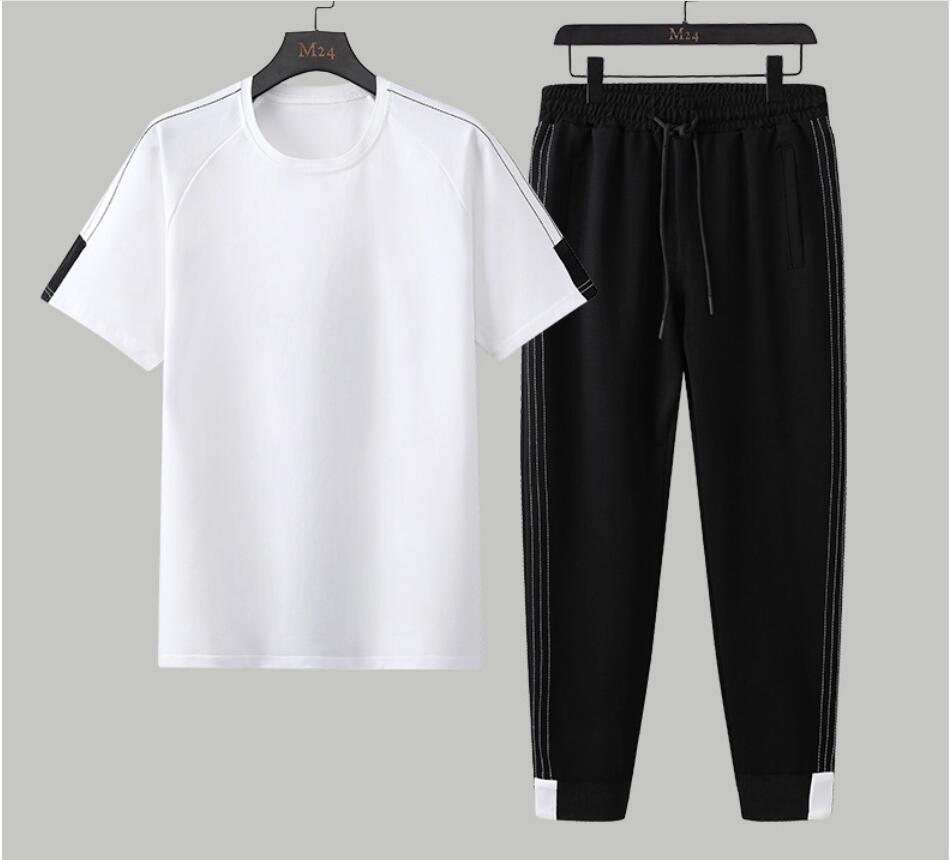 2019 nouveau FP8108 été hommes ensembles t-shirts + pantalons deux pièces ensembles coton imprimé survêtement t-shirt Sportswear survêtement pantalon hommes