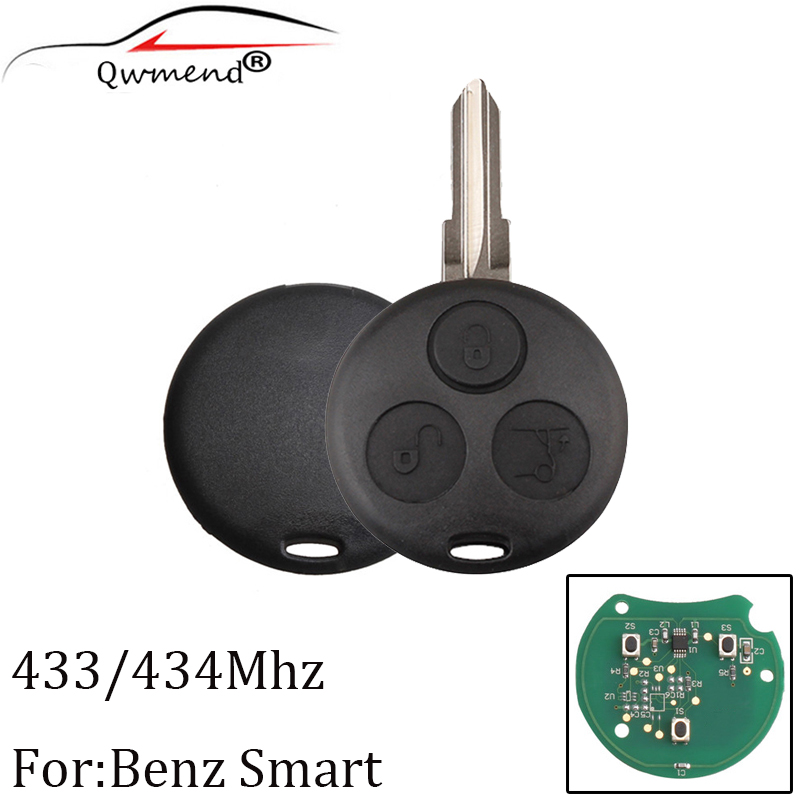 3pcs 3 Buttons 434MHZ Remote Key For Mercedes Benz Smart Fortwo Forfour City Roadster Complete Remote