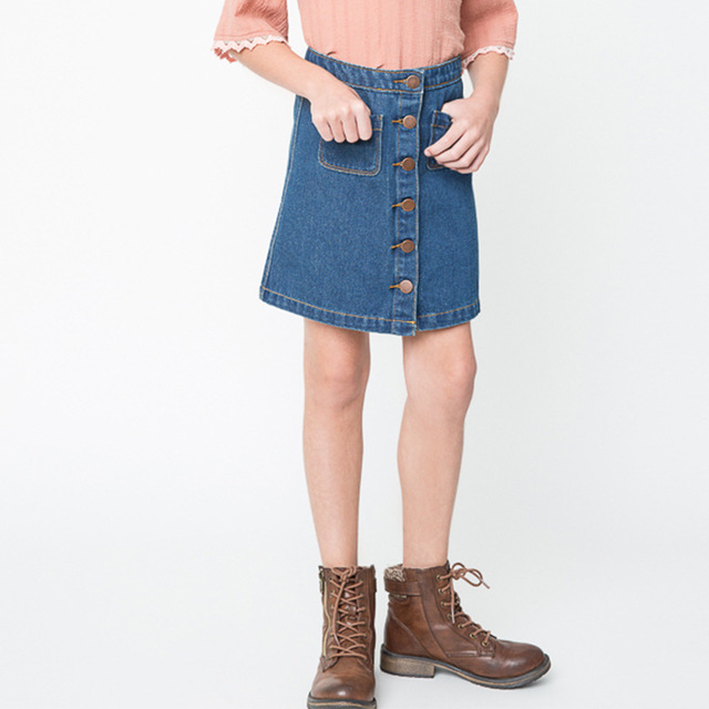 Girls Fashion Jean Single Breasted Skirts Kids Cute Summer Denim Mini Skirts Children Clothes