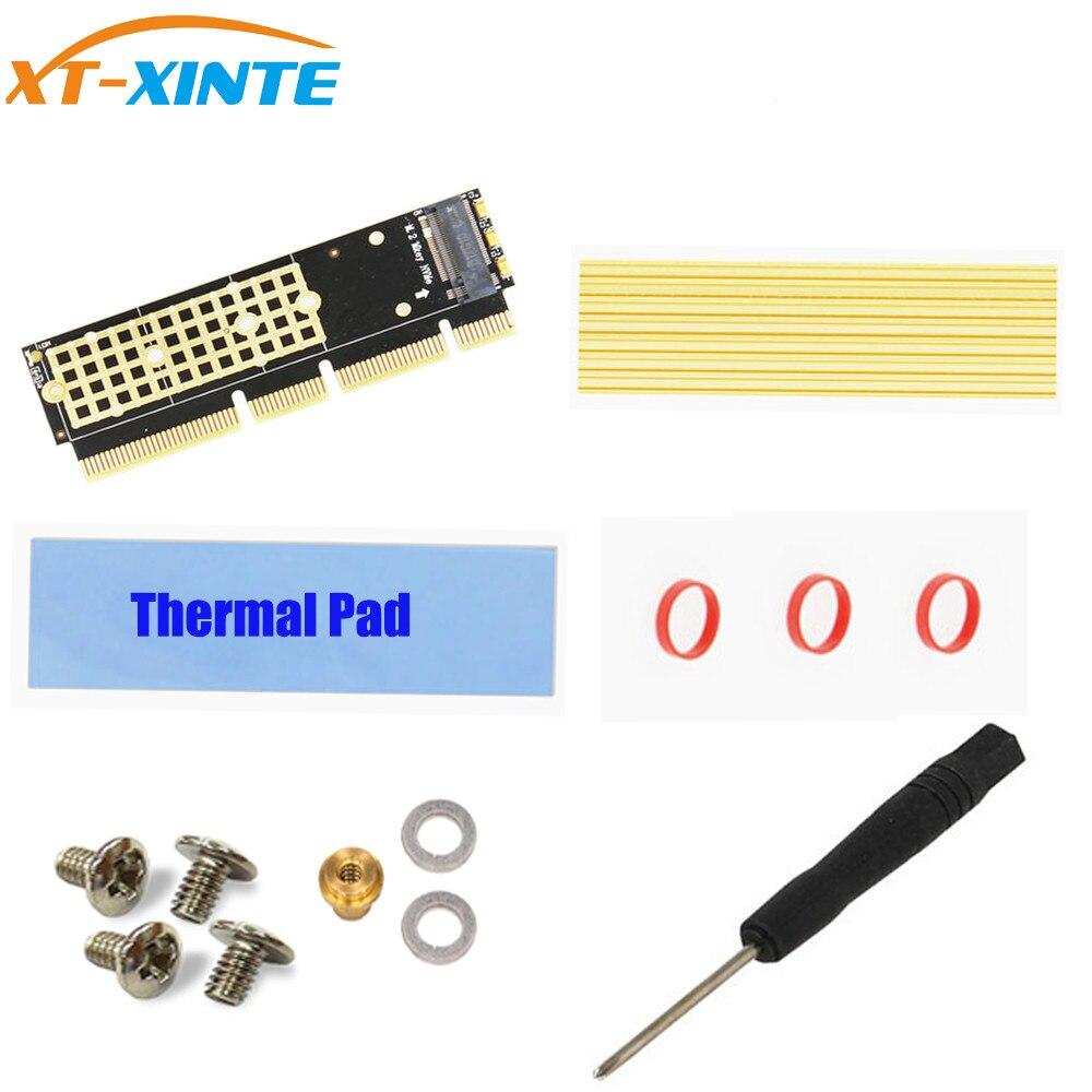 M.2 NGFF NVMe SSD à PCI-E 3.0 16x X16/X8/X4 Adaptateur M2 NGFF Clé M PCIE Extender carte w/Dissipateur de Chaleur Radiateur pour 1U 2U Serveurs PC