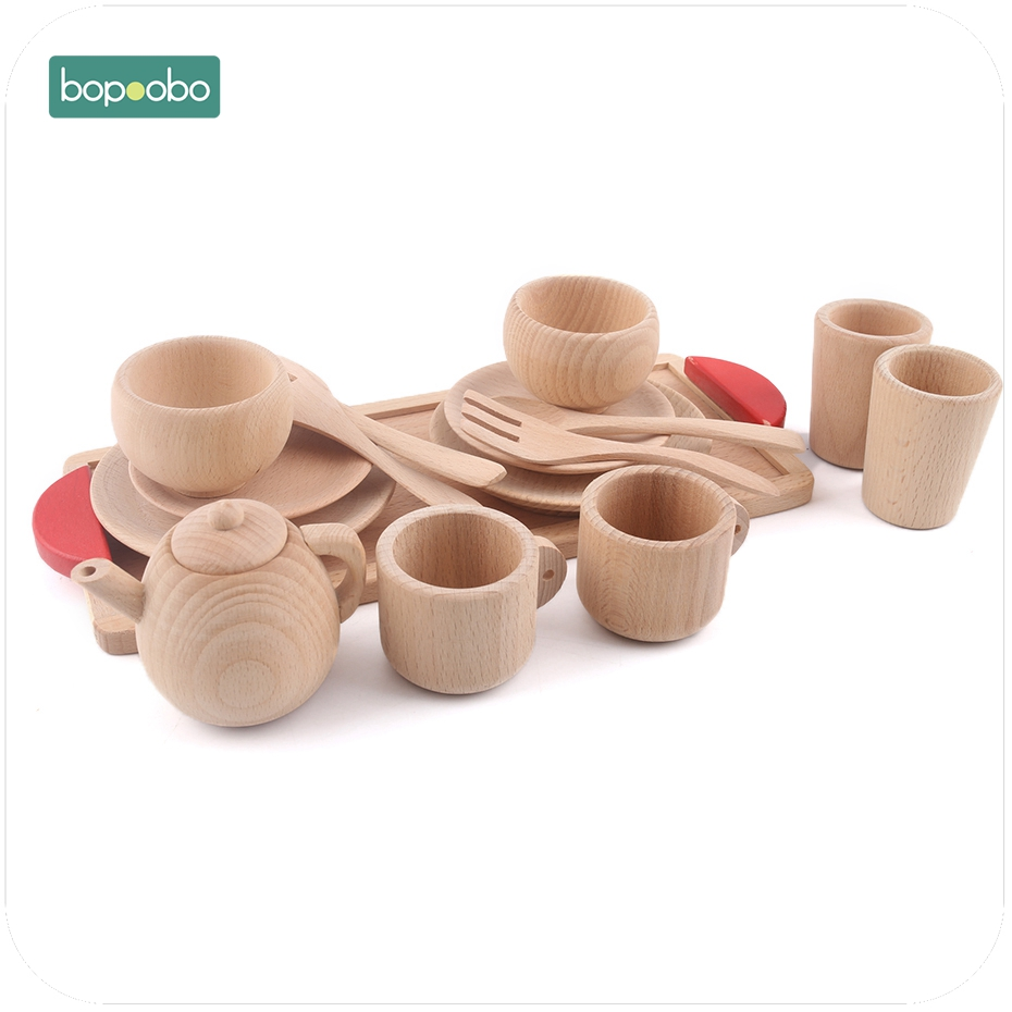 Wooden Cutlery Pretend Play Tea Set Wooden Educational Activity Fruit Cut Kitchen Food Toy Inspired Wooden Baby Toys
