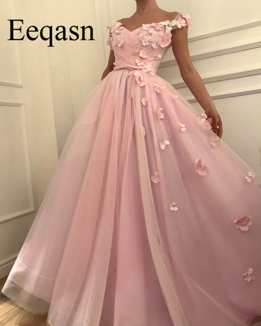 Pink Pearls Prom Dresses with 3D Flowers V Neck Elegant A-line Off Shoulder Long Evening Party Gowns vestido de festa