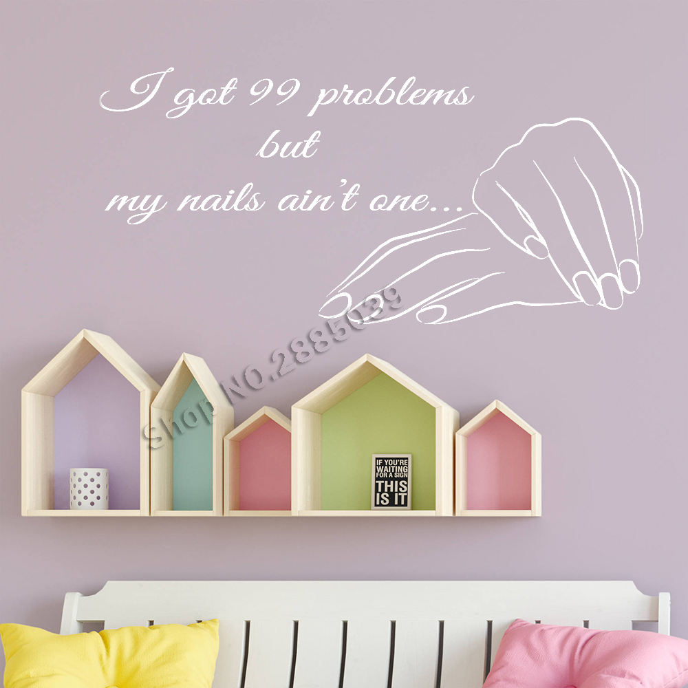 Nails Quote Wall Stickers Nail Shopwindow Sign Vinyl Decals Wall Decor Manicure Salon Wallpapers Removable Murals Hot Sale LC712