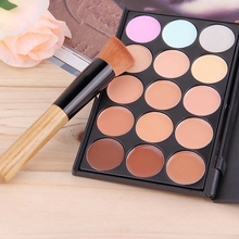 New Hot Pro 15 Color Contour Cream Concealer Palette + Oblique Head Brush Comestic Set