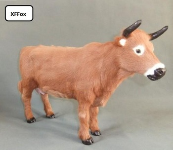 big real life cattle model plastic&furs simulation yellow cattle doll gift about 46x29cm xf1930