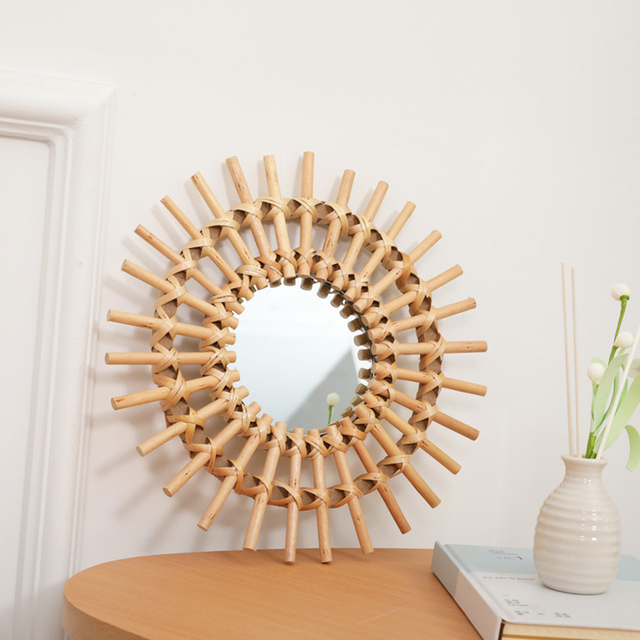 Compact Wall Hanging Mirror Clear Round Space Saving Rattan Dressing Mirror Portable Interior Gifts Art Decor Living Room Home 5