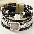 2016 Magnetic Bracelet Boho Women Fashion Gem Rhinestone Leather Bracelets&Bangles Bohemian Wristband Alloy jewelry femme