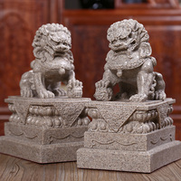 27Cm A Pair Of Mighty Stone Rock Lion Statue Resin Animal Figurine Statue Crafts Decorative Ornaments Home Gift