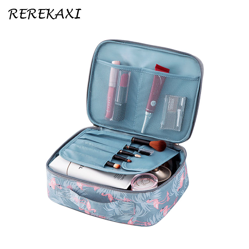 REREKAXI Fashion Oxford Cloth Woman's Cosmetic Bag Organizer Travel Waterproof Makeup Case Lady Toiletry Bags Toilet Bag