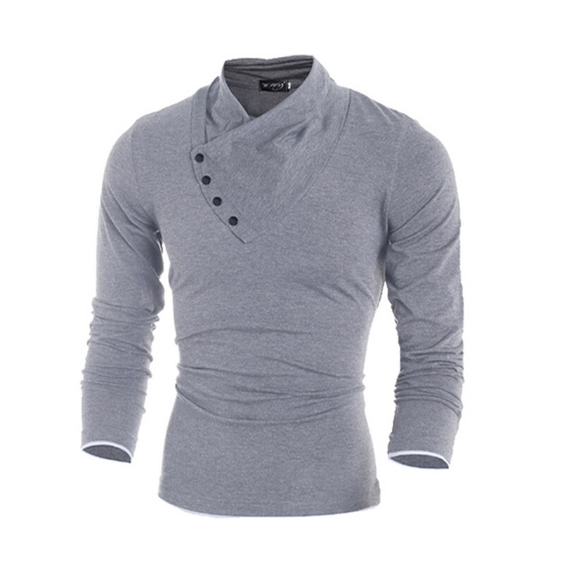 2016 New Autumn Mens 100% Cotton Oblique Button Collar T Shirt Fashion Men Long Sleeve T Shirts  Slim fit T-Shirt Solid Tee