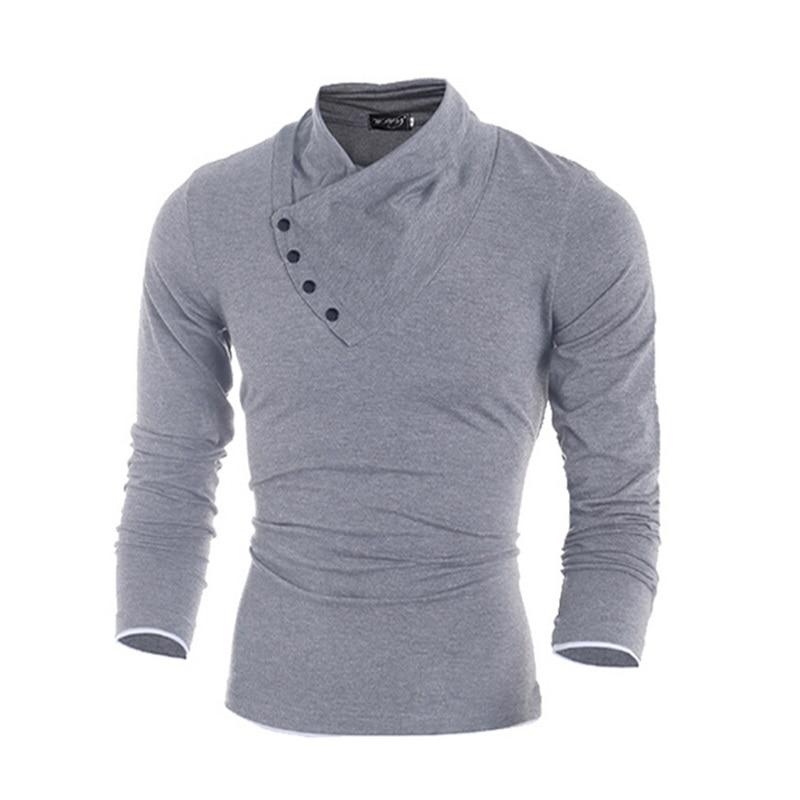 2017 नई शरद ऋतु Mens ओब्लिक बटन कॉलर टी शर्ट फैशन पुरुषों लंबी आस्तीन टी शर्ट स्लिम फिट टी शर्ट ठोस टी