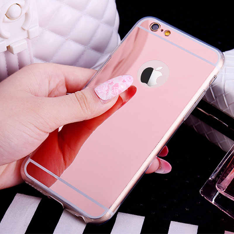 Luxury Bling Mirror Soft TPU Case For iPhone 4 4S 5 5S SE 6 6S 7 8 Plus Silicone Ultra Thin For iPhone X 10 Back Cover Case Capa