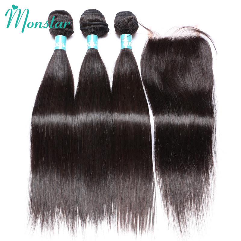 Monstar Hair 3 Bundles with Closure Straight,Peruvian Virgin Straight 4x4 Free/Middle Part Lace Closure Human Hair with Bundles