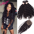 Brazilian Virgin Hair With Closure 100% Human Hair Deep Curly 3 Bundles With Lace Closure 7A Brazilian Deep Wave With Closure