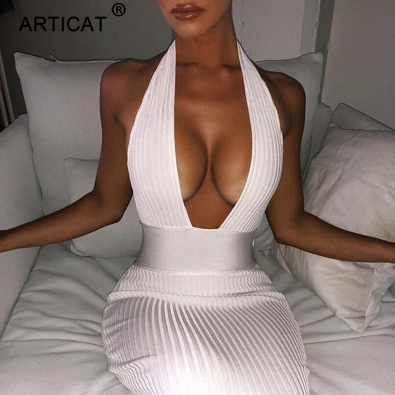 Articat Halter Backless Sexy Knitted Pencil Dress Women White Off Shoulder Long Bodycon Party Dress Elegant Summer Dress 2020