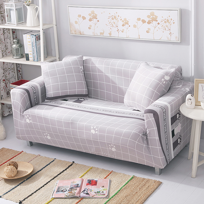 Grey White Sofa Covers Cartoon Printed