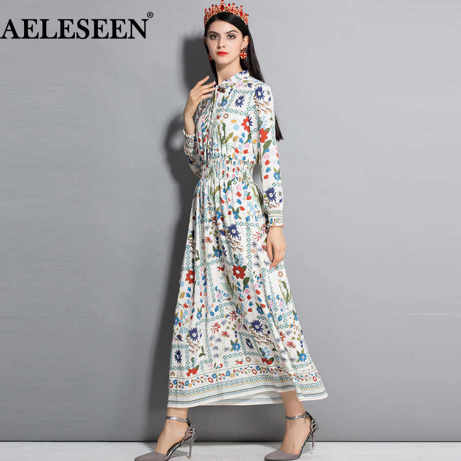 AELESEEN Fashion Runway Long Dresses Women Elegant 2019 Spring Autumn New Beige Bow Floral Elastic Bohemian Long Dress