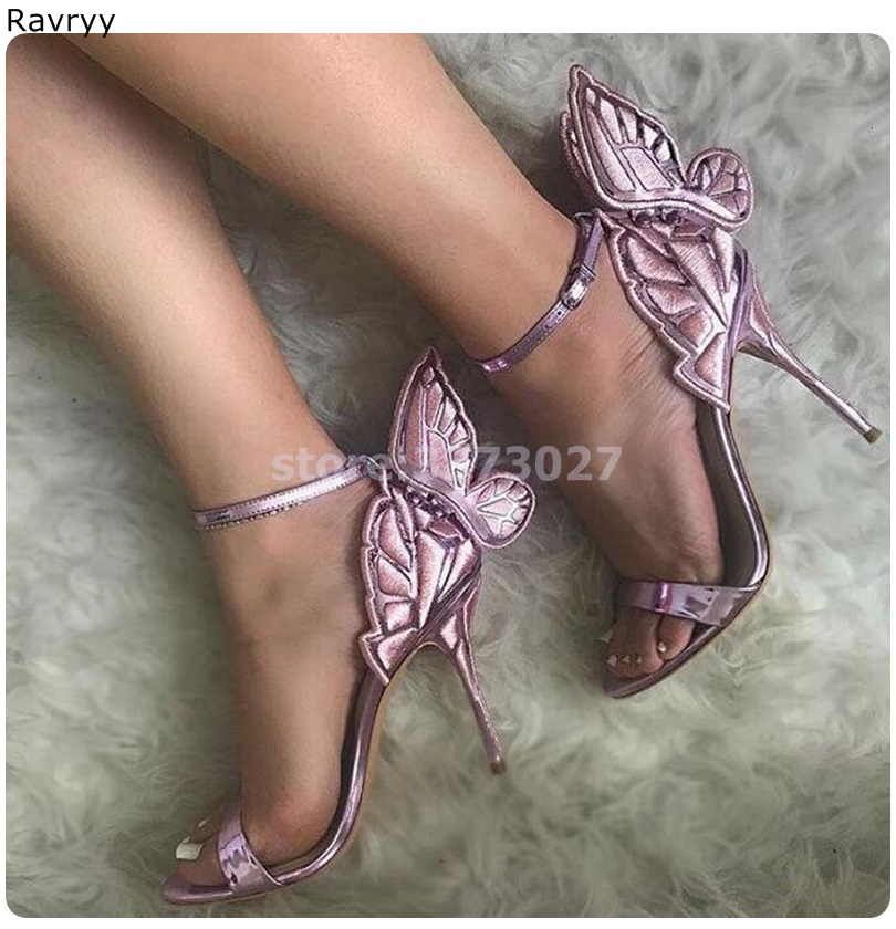 Purple Butterfly woman's sandals summer fashion cover heel high heels open toe female party dress shoes stiletto ankle buckle