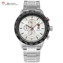 Blacktip shark sport montre argent blanc tableau de bord 24hr date calendrier de randonnée pour hommes inoxydable bracelet en acier quartz montre-bracelet/sh398