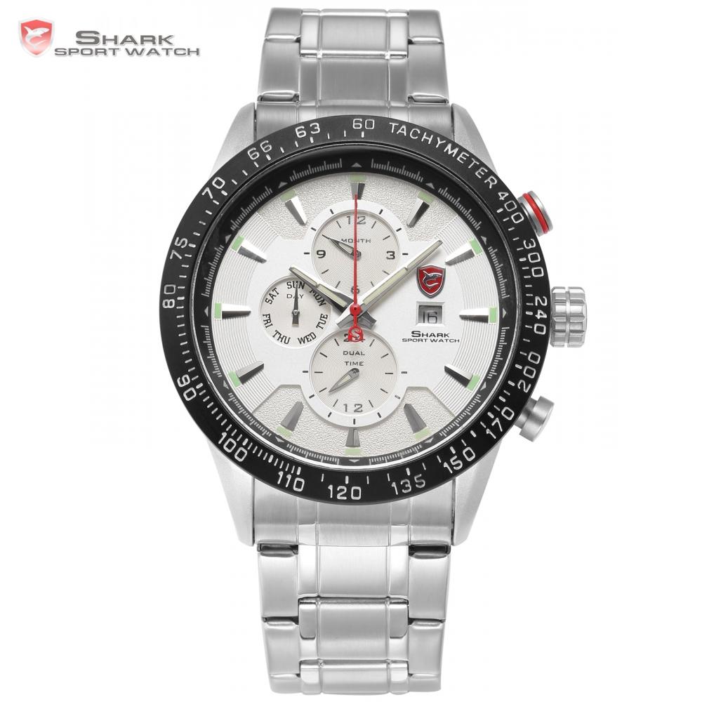 Prix pour Blacktip shark sport montre argent blanc tableau de bord 24hr date calendrier de randonnée pour hommes inoxydable bracelet en acier quartz montre-bracelet/sh398