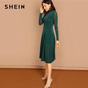 Image 2 - SHEIN Yeşil Parti Katı Mock Boyun Glitter Fit Ve Flare Standı Yaka uzun kollu elbise Sonbahar Kadın Zarif Elbiseler
