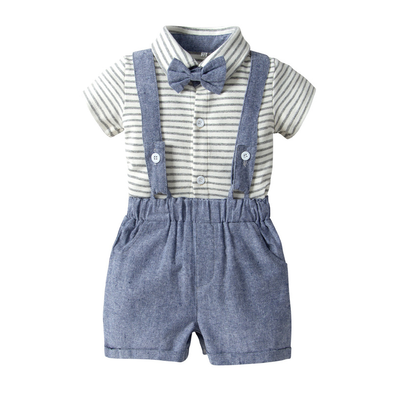 2019 Summer Suits Boys Short Sleeve Striped Rompers+Bib Pants+Bow Tie 3pcs Casual Handsome Infant Boys Set Bebes Fresh Vesitidos(China)