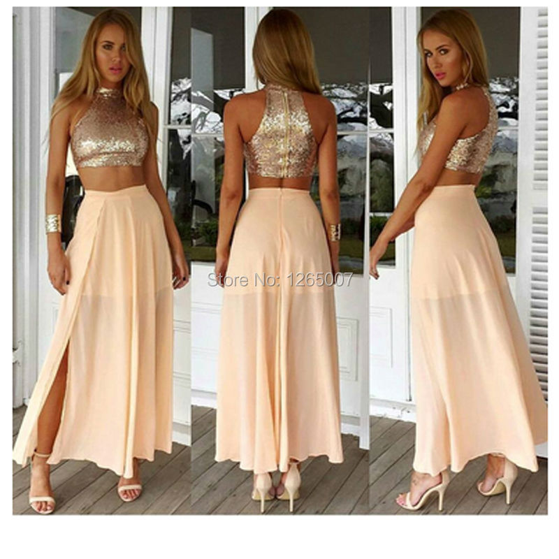 1c07402f27c8cd Fashion Halter Sparkly Sequins Top Chiffon A Line Side Slit Crop Top 2 Two  Pieces Prom Dresses Sexy White Maxi Gown