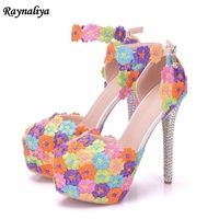 Handmade Multicolour Flower New 2018 Women Summer Gladiator Sandals Ladies High Heels Platform Wedding Shoes XY B0075