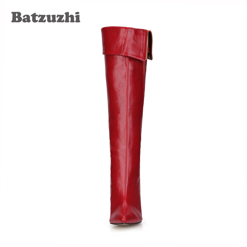 4a0eef73 Aliexpress.com: Comprar Batzuzhi hecho a mano rojo de moda de cuero de las  mujeres botas zapatos de cremallera lado puntiagudo dedo del pie 9,8 cm  partido ...