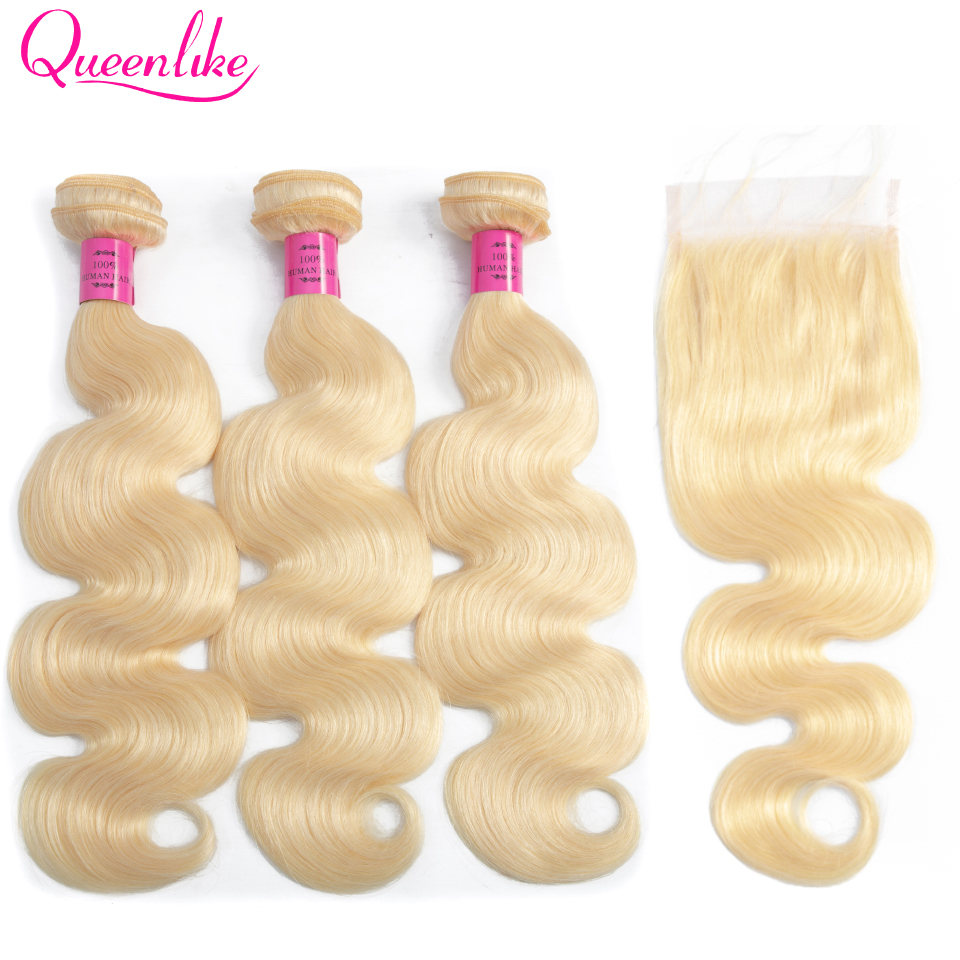 Queenlike Honey Blonde Bundles With Closure Remy Peruvian Human Hair Bundles Body Wave Color 613 Bundles With Lace Closure