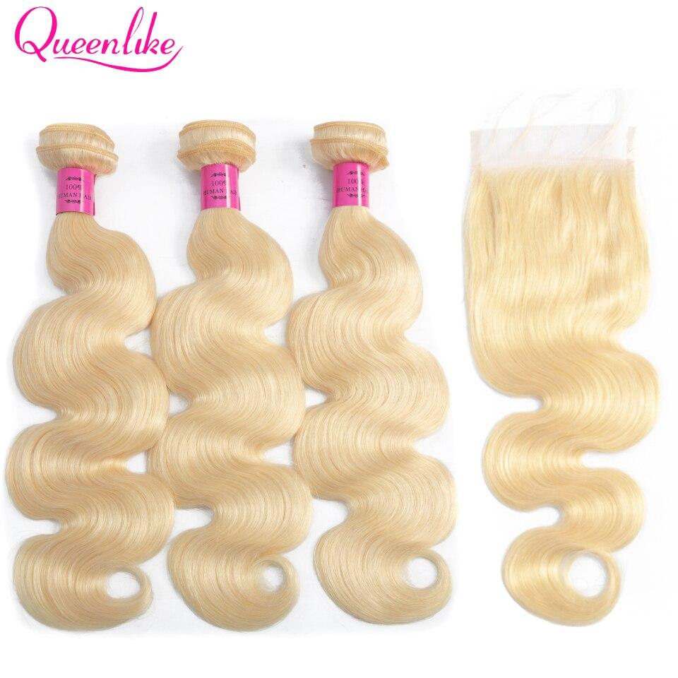 Queenlike Honey Blonde Bundles With Closure Remy Peruvian Human Hair Bundles Body Wave Color 613 Bundles With Lace Closure
