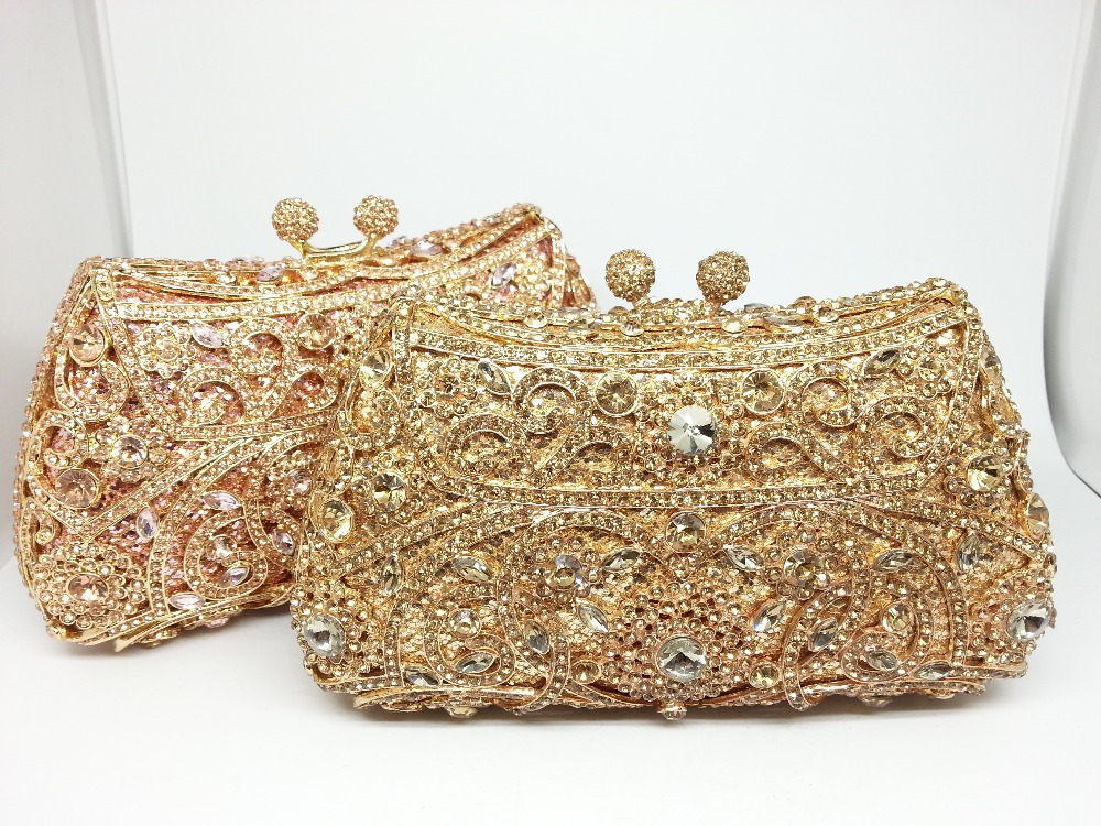 Gift Box 12Colors Crystal Metal Clutches Hard Case Bridal Evening ...
