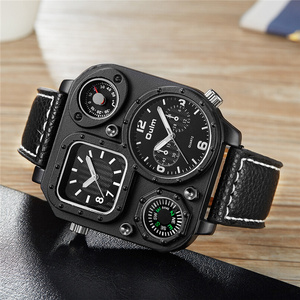 Image 2 - Oulm Sports Mens Watches Unique Compass for Decoration Big Size PU Leather Military Wrist Watch Male Clock Hours Man