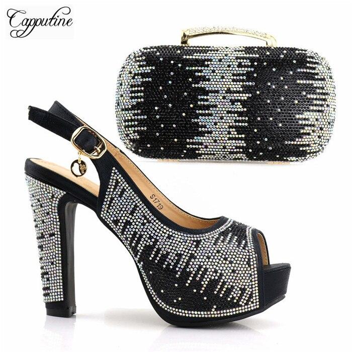 Популярные Стразы дизайн, высокая обувь на каблуке идеальное соответствие с сумочкой комплект для модных леди S1719, 5 цветов