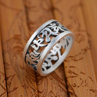 GZ Six Words Mantra Ring 925 Sterling Silver Vintage Anillos Hollow S990 Thai Silver Rings For