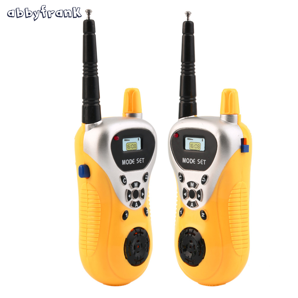 Abbyfrank 2Pcs Mini elektronike Walkie Talkie Toy Spy Gadgets Intercom Kids Interphone Electronic Portable Portable Radio me dy kalime