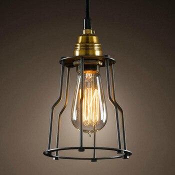 Loft Edison americano rural restaurante retro candelabro de hierro E27 40 W colgante lámparas