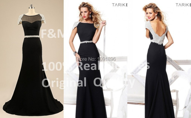 d5c2e82026e 2015 Custom Made Tarik Ediz Black Mermaid Evening Dresses Scoop Cap Sleeve  Beaded Long Women Real Pictures Prom Dress IN STOCK