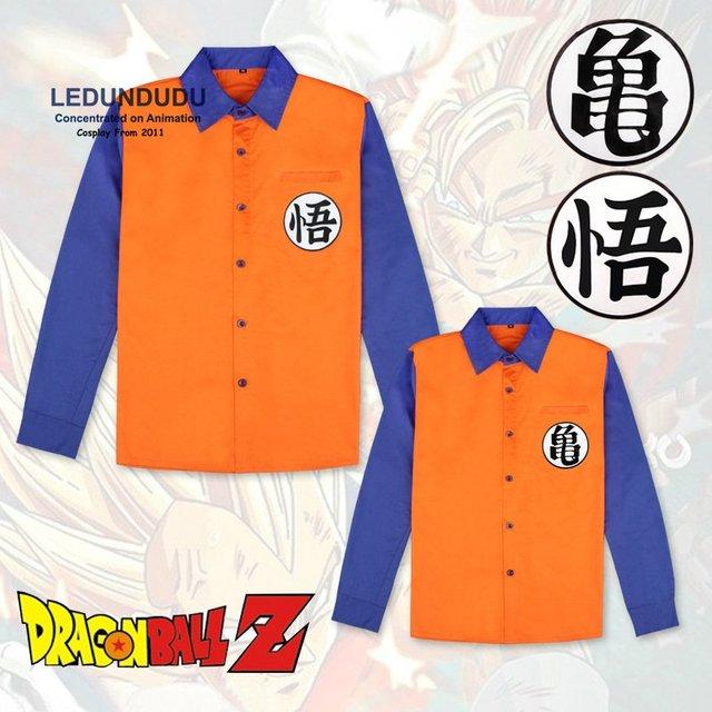 ea6358e24 Anime Dragon ball Z Goku Camisetas Manga Comprida Patchwork Tops Camisas  Dos Homens Cosplay Trajes para