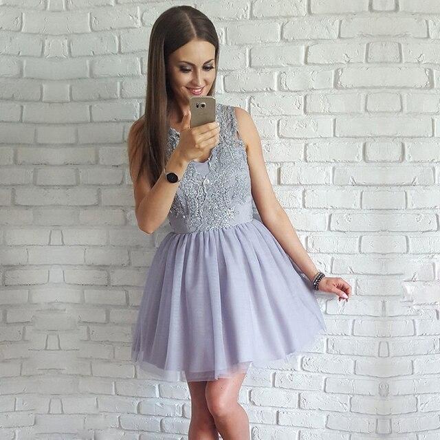 BeryLove Short Grey Homecoming Dress 2019 V Neck Beaded Lace Cocktail Dress  Mini Graduation Gowns Short Prom Party Dresses b861a836b9ea