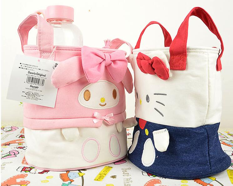 5 Pcs Lot Kawaii Bowknot My Melody Barrel Design Canvas Makeup Storage Bag Organizer