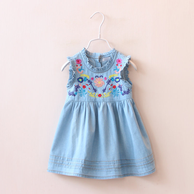 baby girl kids clothes fashion cute flower children clothing loose cozy denim girls dress cotton 2-7 yrs 2016 summer new dress fashion kids baby girl dress clothes grey sweater top with dresses costume cotton children clothing girls set 2 pcs 2 7 years