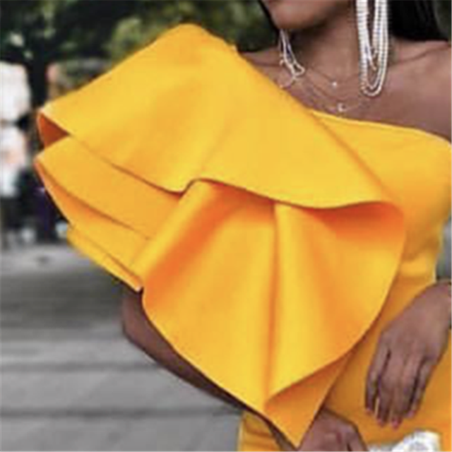 Yellow Party One Shoulder Ruffles Dress 2
