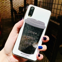 Fahion Dynamic Quicksand Liquid Coffee Cup Pattern Cases For Huawei P30 P20 Lite Pro Mate 10 20 Glitter Black Powder Funda