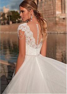 Image 3 - Graceful V neck A line Wedding Dress Appliques Custom Made Tulle Gowns Short Sleeve Illusion Back Bridal Dresses