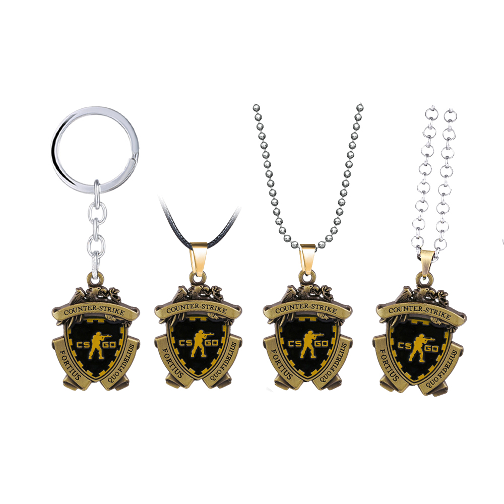 Game CSGO Medal Keychain Metal Pendant Necklace Counter Strike CS GO Keyring Men Jewelry Fans Gift Souvenir Women Choker Llavero